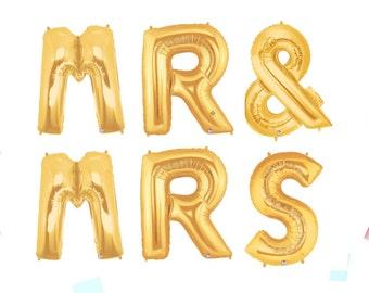 "Mr. & Mrs. Ballons 40"", Wedding Engagment Party, Wedding Balloons, Gold Wedding Decor, Reception Decor, Wedding Decorations, Party Decor"