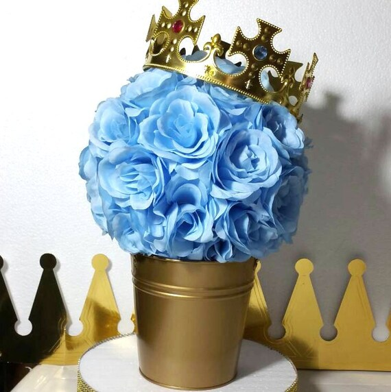 Charming FLOWER PAIL Little Prince Baby Shower Table Centerpiece / Boys Baby Blue  And Gold Little Prince Baby Shower Theme Decoration