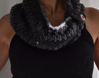 The GRAYLADY Cowl-hand crocheted cowl in two lengths-Wear with or without button closure, Autumn/Winter Accessory