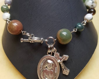 Fancy Jasper Divine Mercy, Saint Faustina Rosary Bracelet