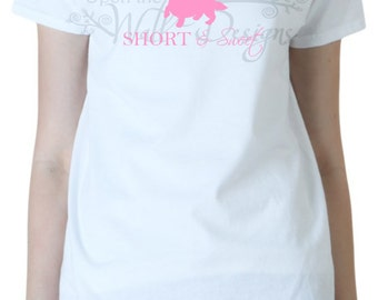 Short and Sweet Dachshund long haired T-Shirt   white/adult/funny/humor