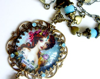 Queen of Cups - The Artist and Seducer - Tarot Necklace - Carnivale Mystickal