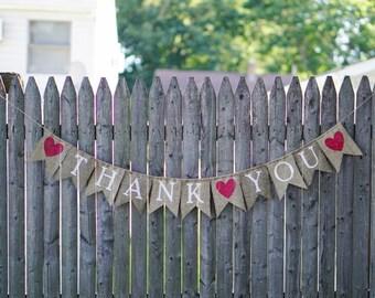 Thank You Banner, Rustic Wedding, Burlap Wedding Sign, Wedding Banner, Wedding Decoration, Thank You Sign, Bridal Banner, Burlap Sign