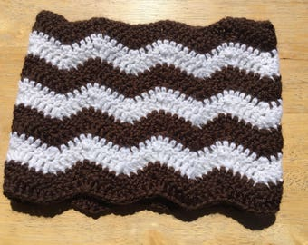 Chevron Infinity Cowl // Ready to Ship // Crochet Cowl // Ladies Cowl // Dark Brown & White // Crochet Chevron // Infinity Scarf