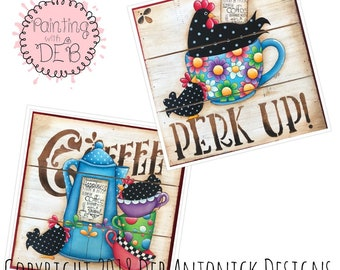 Buk Buk's and Coffee by Deb Antonick, email pattern packet