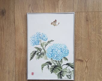 Original Chinese Brush Painting: Hydrangea with butterfly
