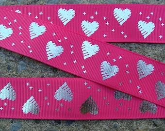 """3 yards Silver hearts Ribbon Pink and Silver Ribbon Hearts Printed Ribbon 1"""""""