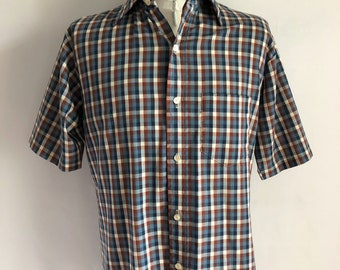 Vintage Men's 70's Jantzen, Checkered Shirt, Short Sleeve, Button Down (L)