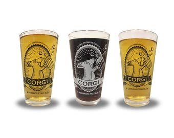 Corgi Pint Glass (one glass - choose between Pembroke Pale Ale and Cardigan Cream Ale)