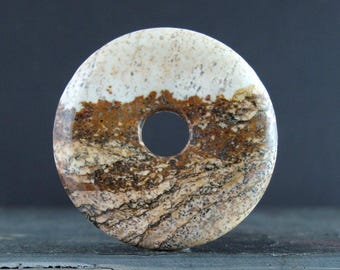 Round Donuts  picture jasper cabochon, focal pendant, Jewelry making supplies B6730