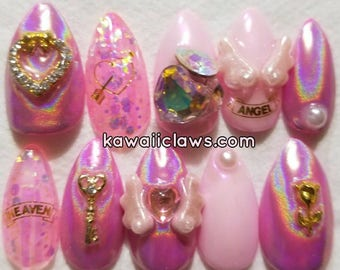 Pretty Pink Holo Angel Glitter & Opalescent with Opal Crystals Gel Nail Art