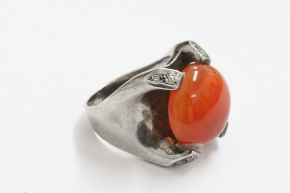Vintage 925 SILVER Ring with Big Orange Stone and zircon