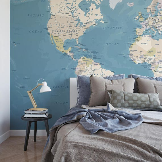 World map temporary wall mural political map removable world map temporary wall mural political map removable wallpaper globe self adhesive wall mural m6654 gumiabroncs Choice Image