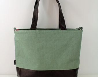 Extra Large Lulu Tote Overnight Bag - Sage Linen and PU Chocolate Brown Leather -READY to SHIP  Zipper Closure Travel Bag 7 pockets