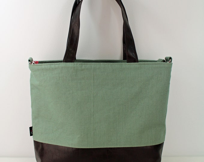 Extra Large Lulu Tote Overnight Bag - Sage Linen and PU Chocolate Brown Leather -READY to SHIP