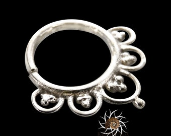 Ajeet Silver Septum Ring - Septum Jewelry - Septum Piercing - 18G Septum - 16G Septum Ring - Indian Septum Ring - Tribal Septum Ring (S4)