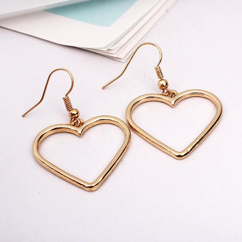 Cute Gold Heart Outline Dangle Drop Kawaii Earrings