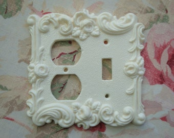 Roses & Flourish Combo-Power Outlet/Toggle Wall Plate Resin French Country 1967
