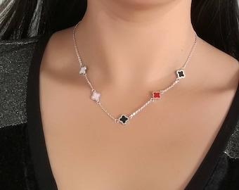 necklace 40cm+5cm titanium luck clover black red rose white hypoallergenic for sensitive skin