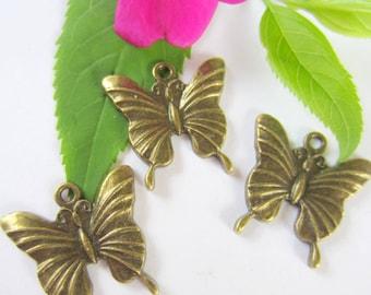 6 Antique bronze Butterfly bracelet charms butterfly pendants  24mm x 23mm