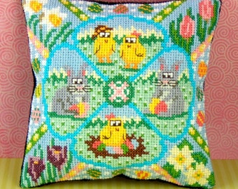 Easter Garden Mini Cushion Cross Stitch Kit