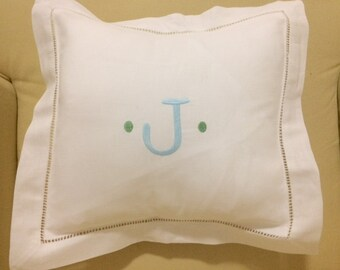 Monogrammed Linen Hemstitched Pillow with Insert