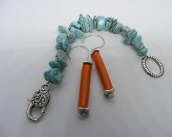 Orange Sunrise Earrings, Sterling Silver