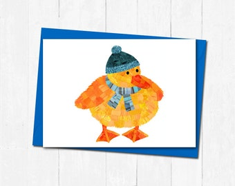 Christmas winter duckling card, Cute christmas duckling card, Personalised christmas cards, Duckling card, Adorable animal christmas cards