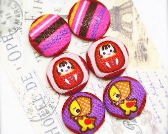 "Kimono Daruma - fabric covered button ear studs, set of 3 -  3/4"", 19mm (BS)"