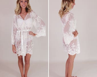 Sample Sale - Helena bridal kimono robe, ivory lace, sz small/medium, length 34 inches