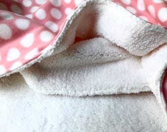 Pink polka dot fleece and sherpa baby blanket, crib blanket, baby bedding, stroller blanket, baby shower gift, baby girl blanket, coverlet