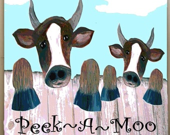 Cow Peek-A-Moo ..funny  Art Shower Curtain