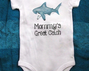 Cute baby bodysuit, Unique baby clothes, Shark baby clothes, Fish baby shower, Nautical baby, Great White Shark, Ocean, Beach baby