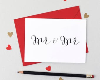 Mr and Mr Wedding Card - Wedding Day Card - Congratulations - Mr and Mr - Groom and Groom Card