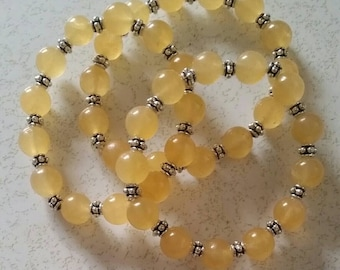 Round yellow calcite bracelet 10mm beads healing stackable jewelry Stretchy Bracelet