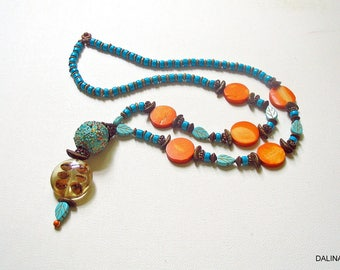 Pearl necklace, necklace, jewelry, beaded jewelry, long necklace, large, opulent, coffee beans, copper, turquoise, olive, orange, ceramics, gift for you, unique