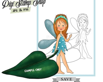 Fairy with Leaf Stamp, Digital Stamp, Fairy Stamp, Digi Stamp, Girl Stamp, Color In Page, Card Design, Lineart, Leaf stamp,