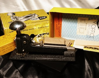 Vintage stapler, heavy duty office stapler, Velos 350 Crown C stapling machine, collectable vintage office supplies, boxed
