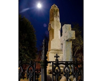 Half Off Night Photography Old Grave at Night 3 - Fine Art Canvas - Home Decor Wall Art Prints Unframed