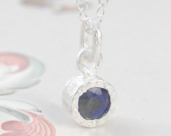 Sapphire Pendant, Sapphire Necklace, Silver Gemstone Necklace, Simple Necklace, September Birthstone Gift, Gemstone Pendant, Natural Stone