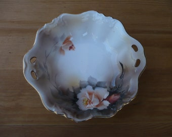 Noritake Hand Painted Bowl, Roses, Gold Scalloped Edge, Handled