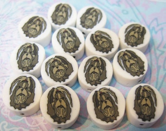 Clearance Dog Beads Shih Tzu Dog Polymer Clay Beads 11mm 10 Beads Last Ones