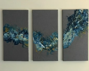 3-piece fluid art painting (this peice has been sold- you can message me the colours you would like, and i will custom make your painting)