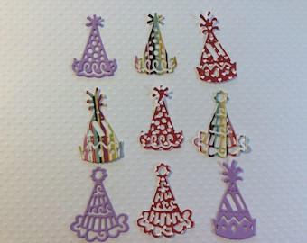 """Handmade, 9 Party Hats, Assorted Colors, CONFETTI, Cards, Scrapbooking, 1 1/2"""" tall, 1 1/4"""" wide, Sizzix, Paper Cuts, Die Cuts"""
