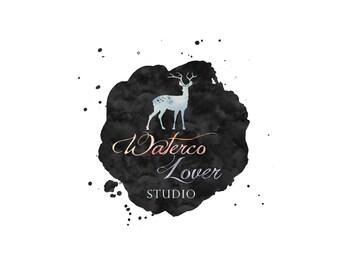 custom logo, premade logo, deer logo, watercolor logo, feminine logo, photography logo, shop logo, business logo, brand design, no  7