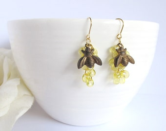 Bees to Honey. Spring Summer Jewelry.  Antiqued Brass Honey Bee Earrings. Bees to Cluster of Honey Drops. Gold Plated Brass Ear Accessories