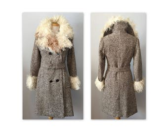 Vintage 70s Tweed Coat XXS XS with Angora Goat Fur Trim, Hippie Chic
