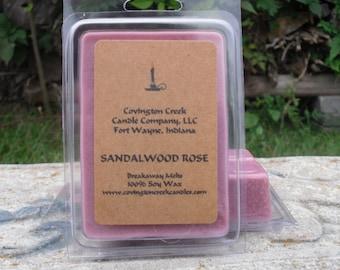 Sandalwood Rose 3 or 6 ounce Soy Breakaway Melts.