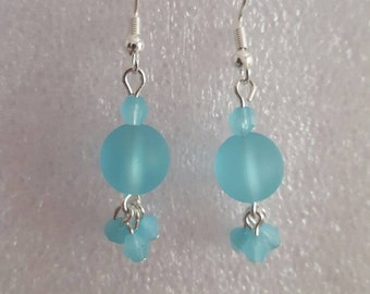 Turquoise round seaglass dangle drop earrings.