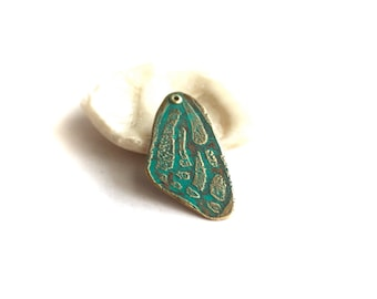 Butterfly Wing Pendant - Turquoise Verdigris Patina, Etched Brass Charm